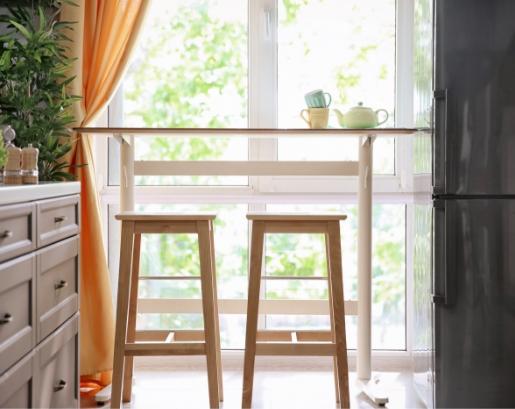 Bar stools in kitchen.