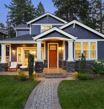 Blue house exterior.