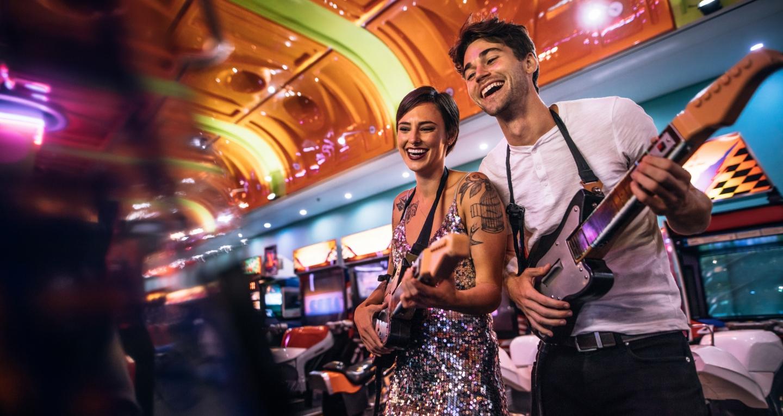 Couple at arcade.