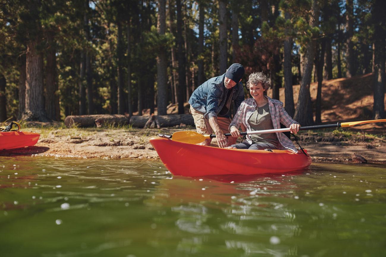 Senior couple kayaking.