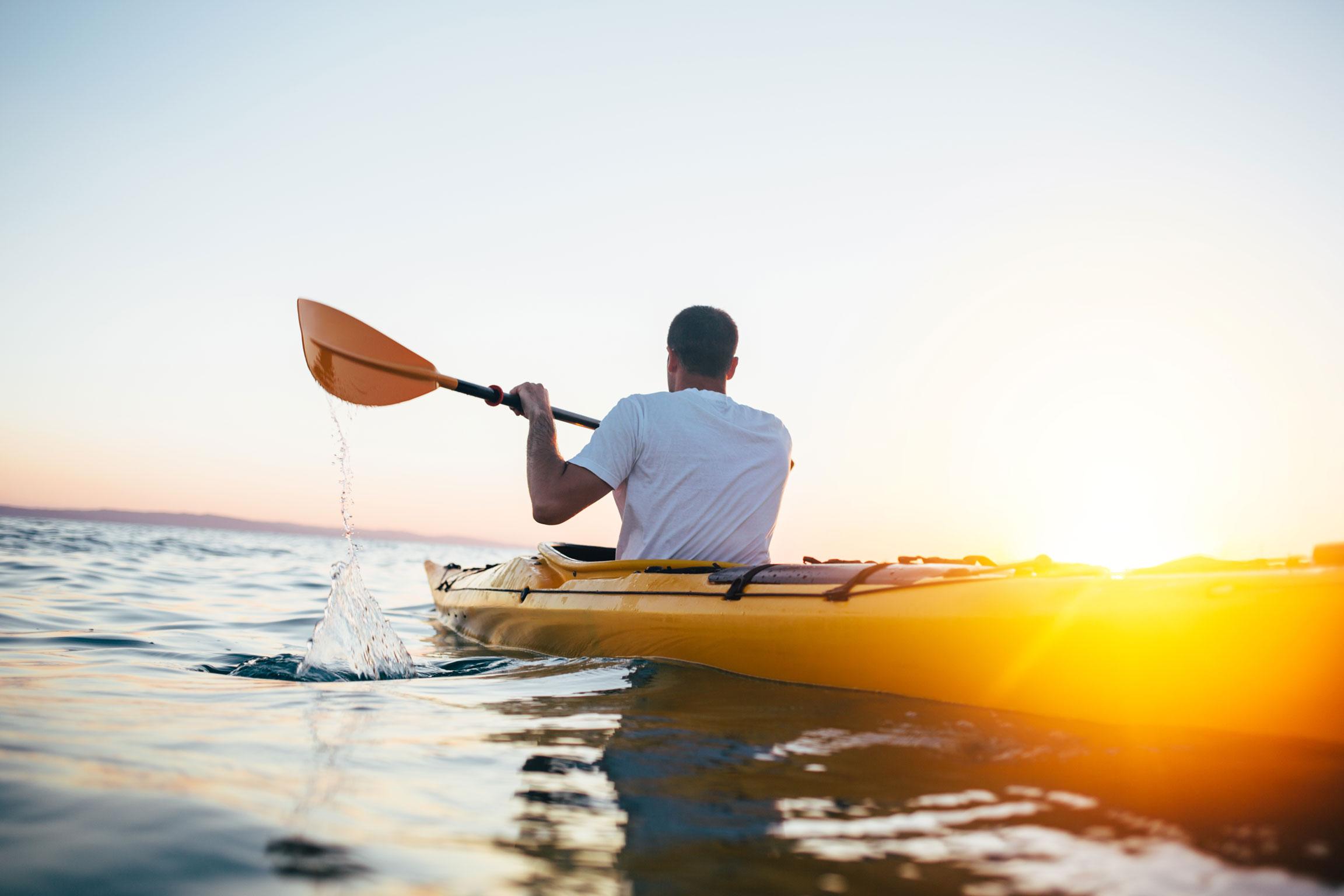 Man kayaking.