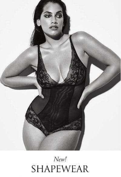 black and white photo of model wearing lace shapewear