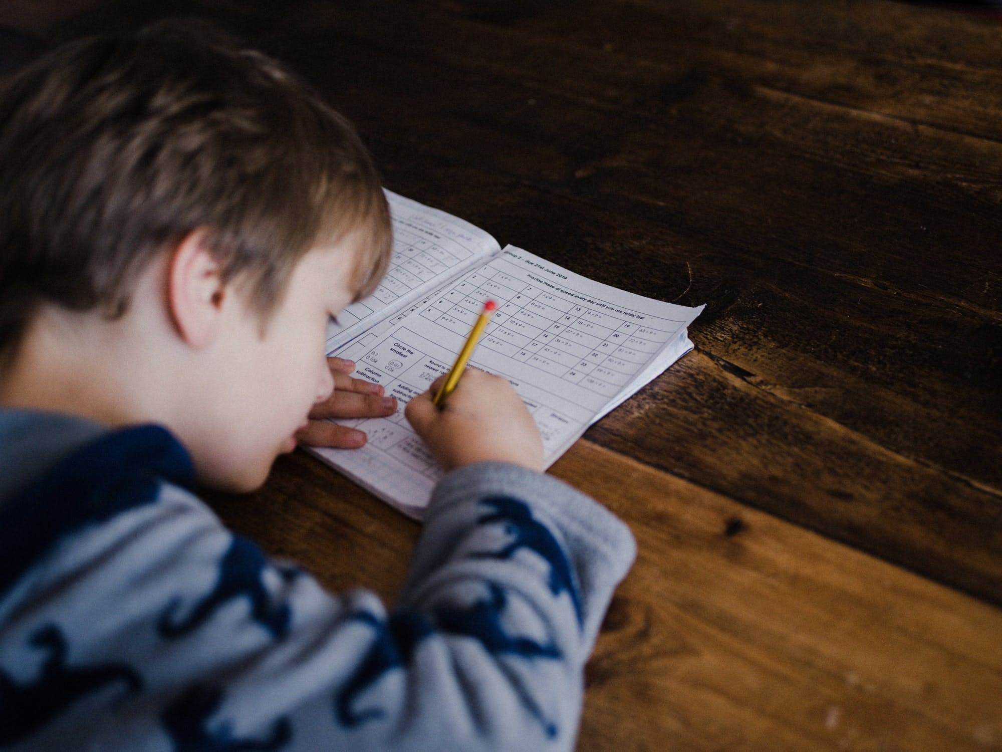 A picture of a young boy completing homework