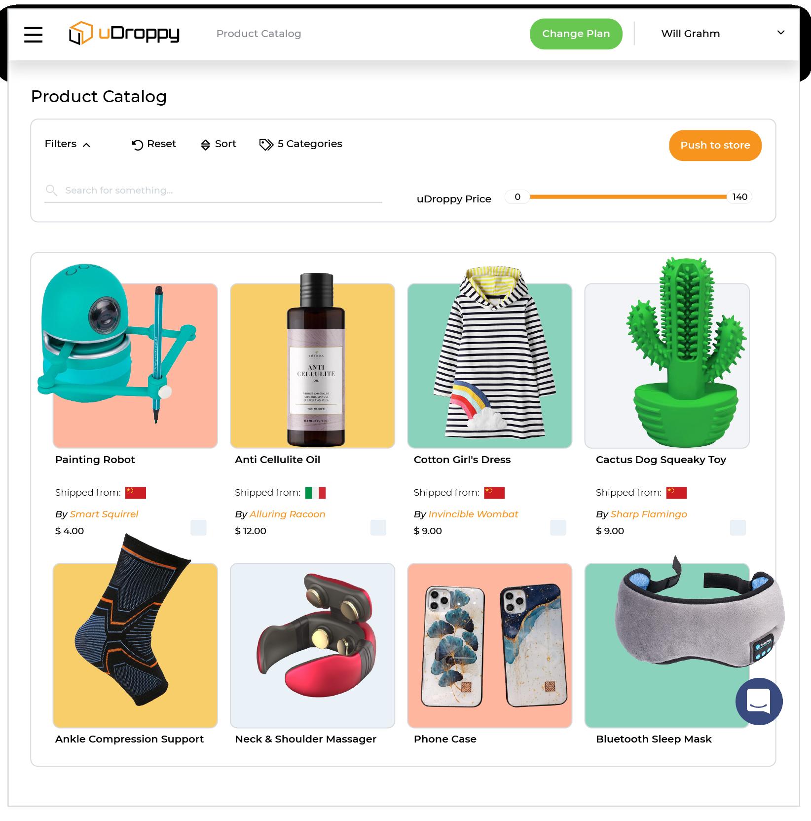 uDroppy product catalog