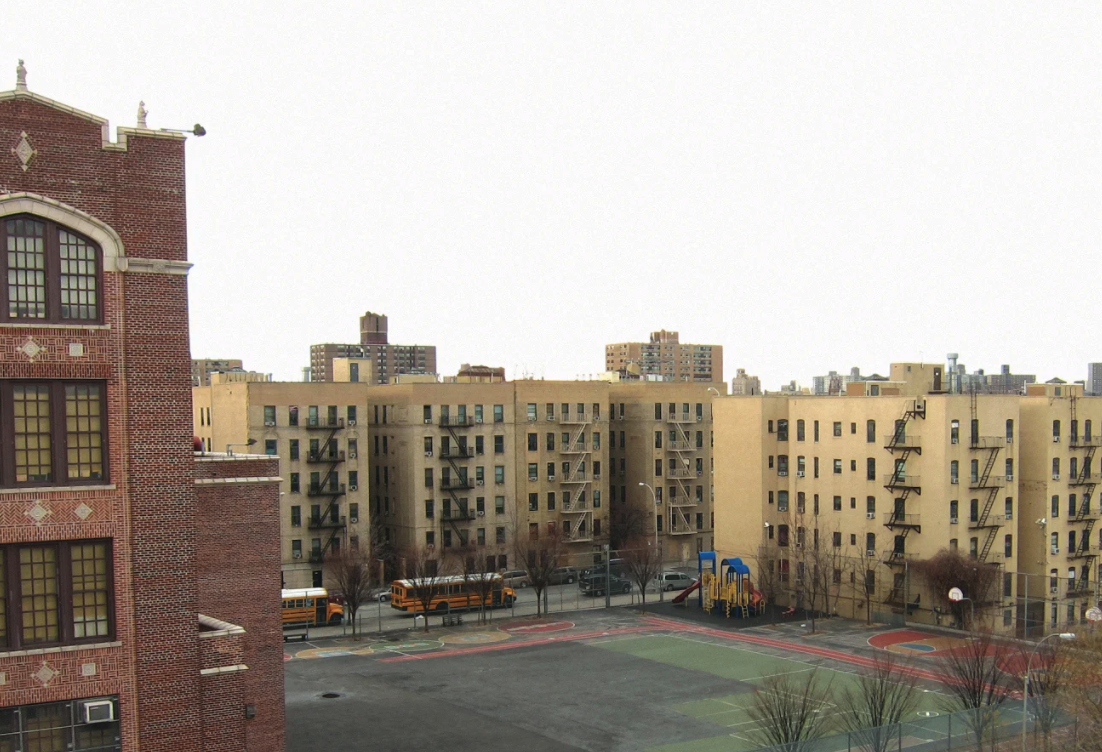 View of a school's basketball court in The Bronx. 351 Powers Avenue, DOE Site