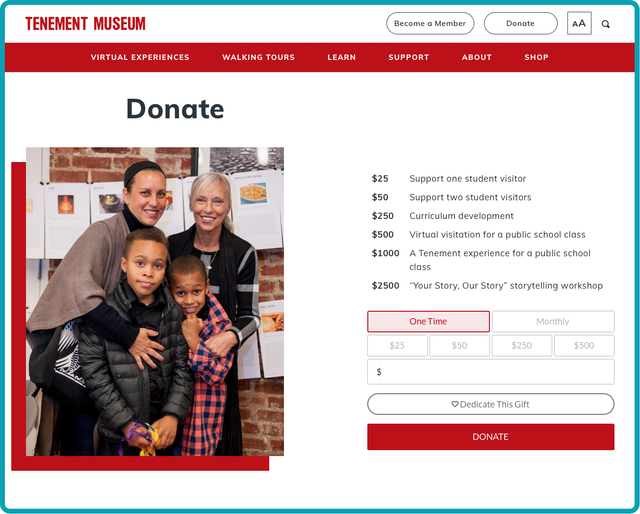 tenement museum donation page