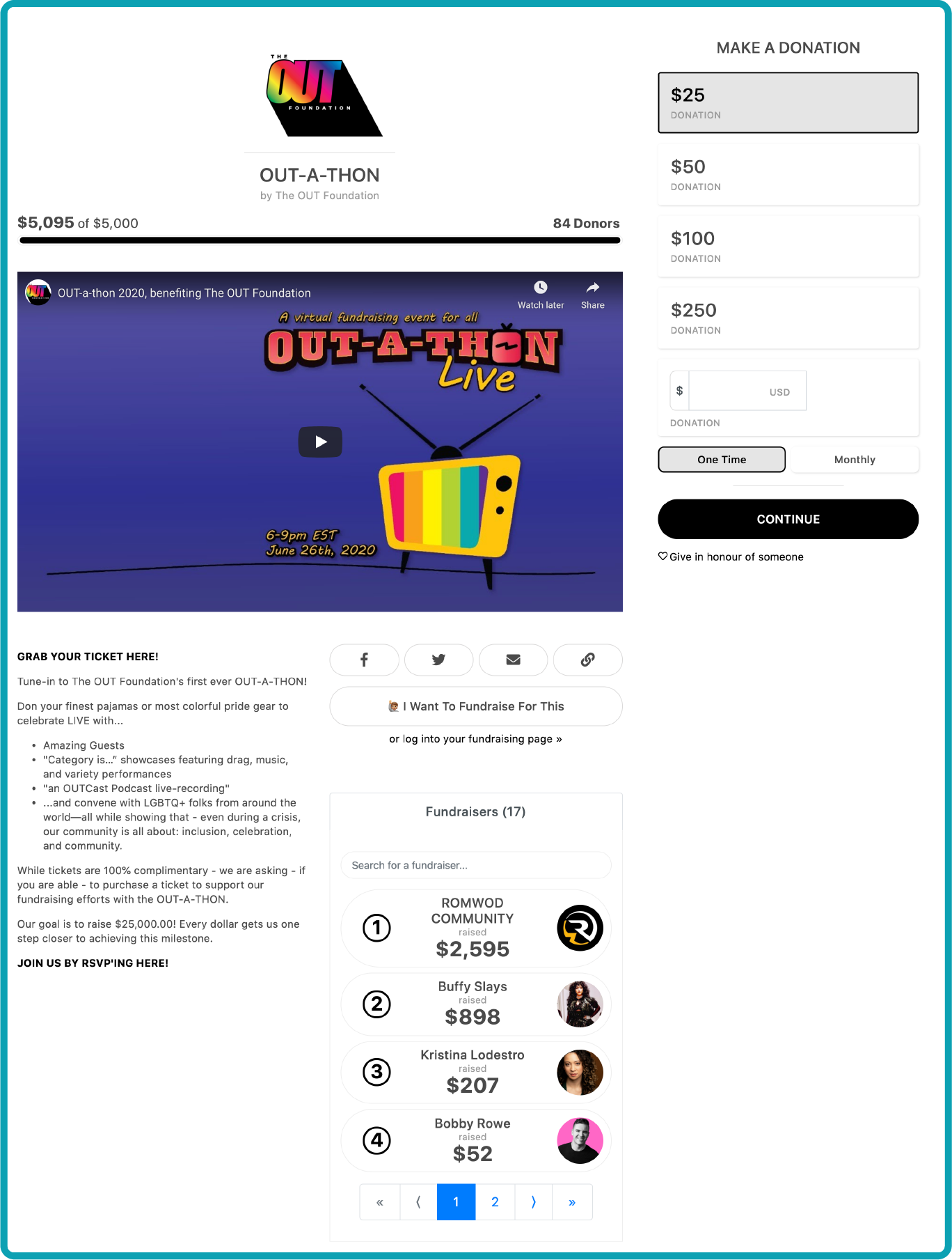The Out Foundation Campaign Page featuring a live-streamed event with a prominent page-top video.