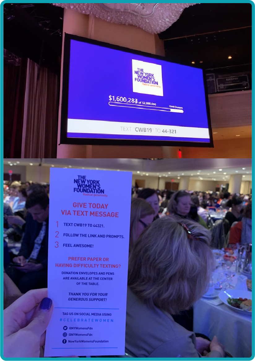 Images from The New York Women's Foundation Breakfast in 2019 showcasing Give Lively's Live Display and text code.