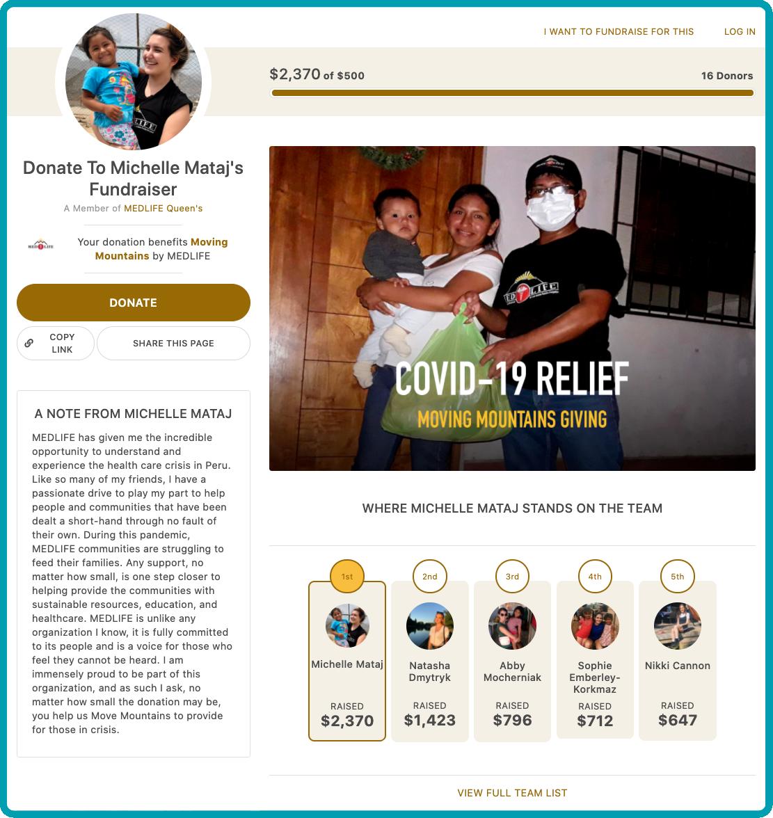 MEDLIFE Individual peer-to-peer fundraising page