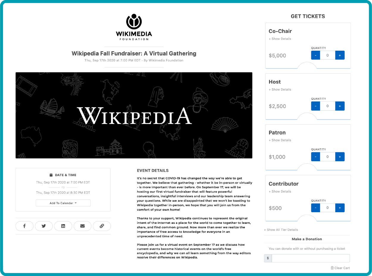 "Wikimedia Event Ticketing Page: ""Wikipedia and the future of free knowledge"""