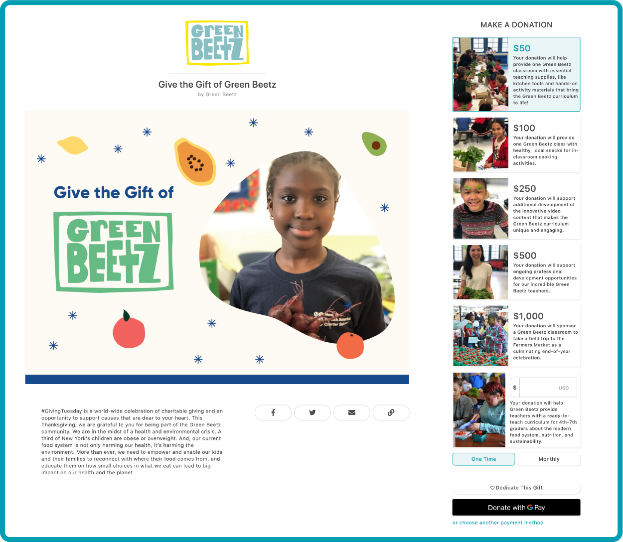 green beetz giving tuesday campaign page give lively