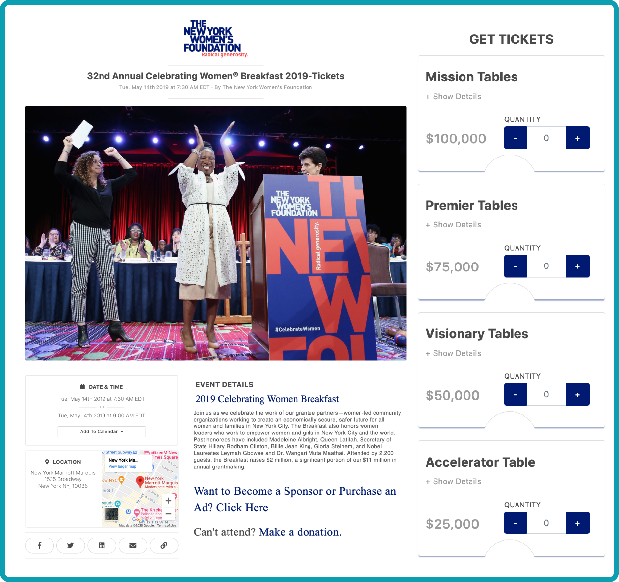 event ticketing page from The New York Women's Foundation Annual Breakfast