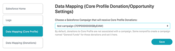 Screenshot of Data Mapping (Core Profile Donation/Opportunity Settings)
