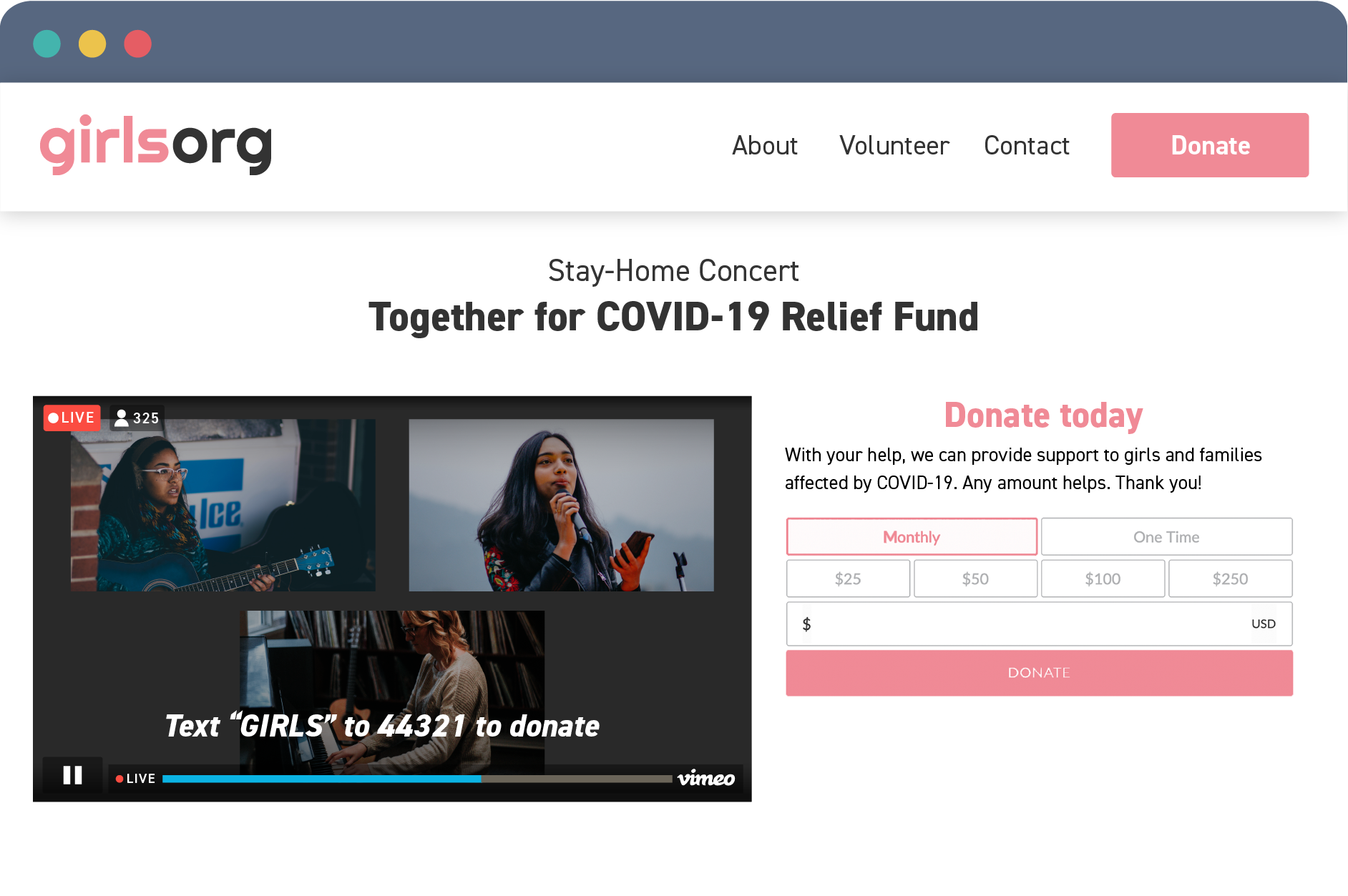 A live stream embedded on a website next to a donation widget.