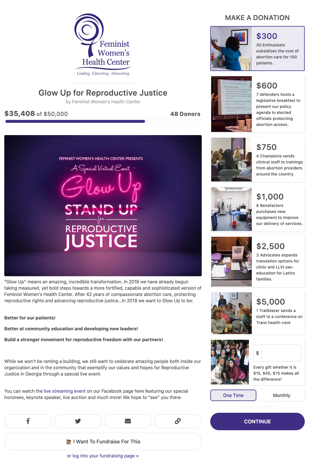 "Glowing pink text on a purple background reads, ""Feminist Women's Health Center Presents a Special Virtual Event: Glow up for Reproductive Justice"""