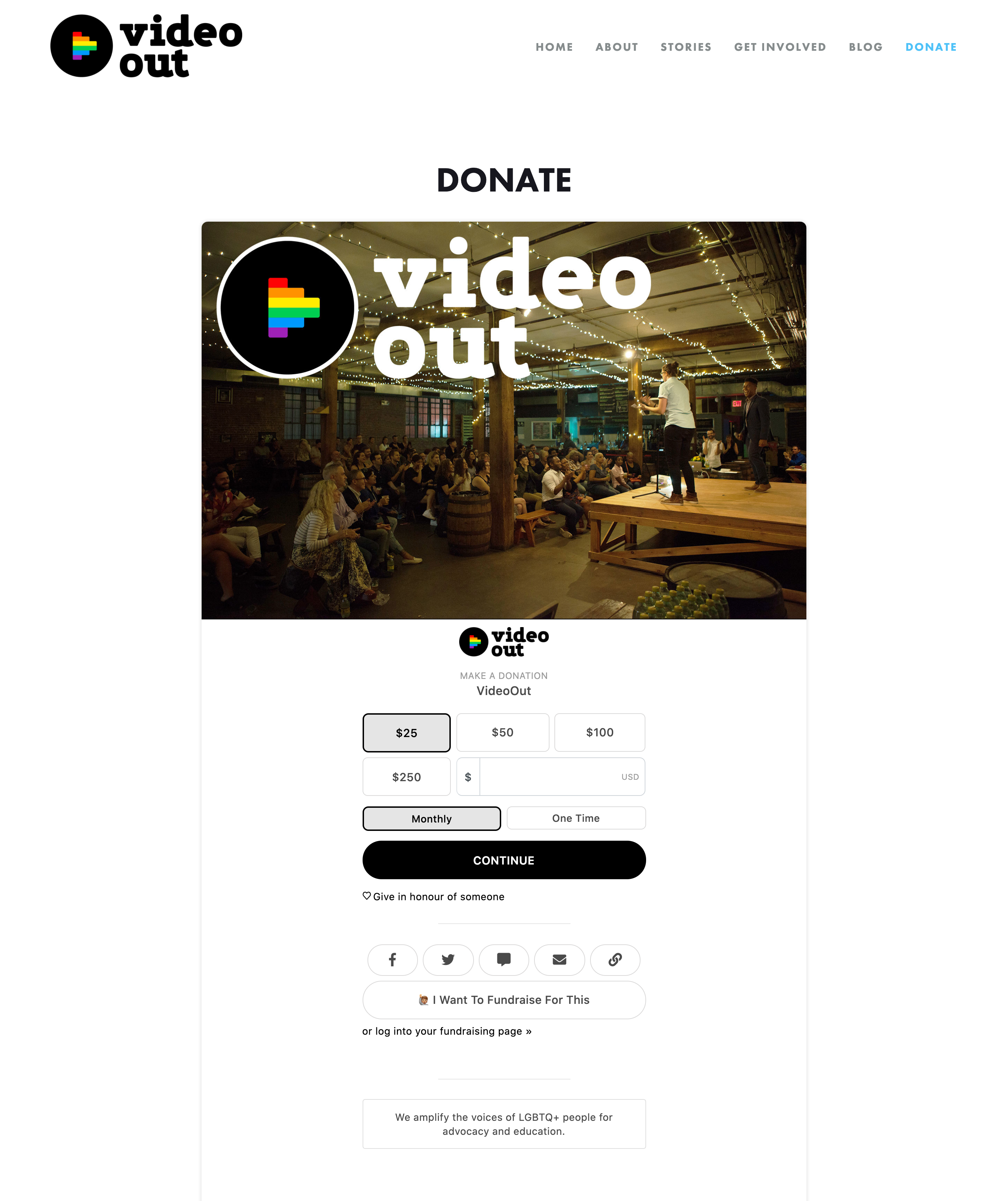 Video Out Website Donation Page using Give Lively's Branded Widget