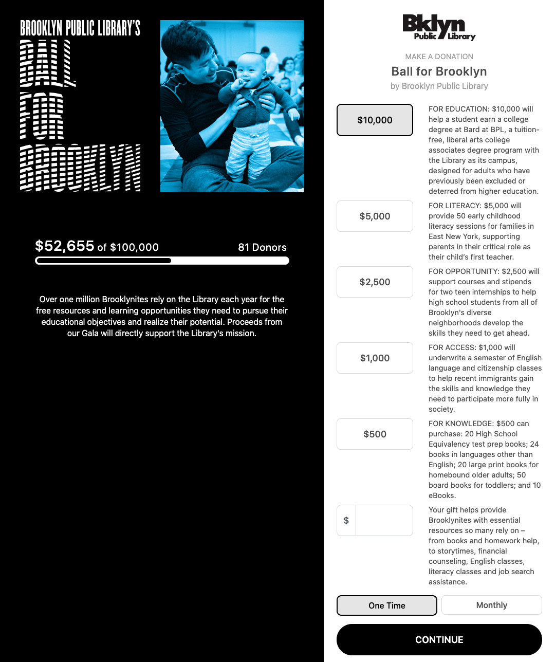 "Text treads ""Brooklyn Public Library's Ball for Brooklyn"" next to an image of a man with a young child."