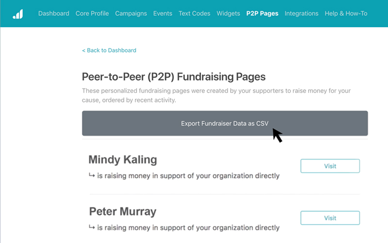 Export Fundraiser Data as CSV in the Nonprofit Admin Portal