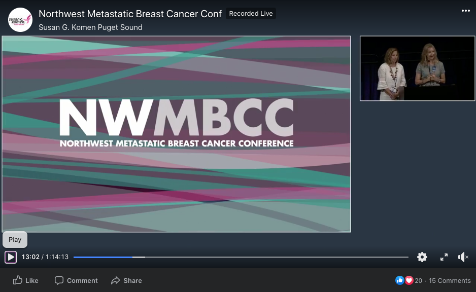 Still of the Northwest Metastatic Breast Cancer Conference livestream. The stream includes a main video of the NWMBCC branding, and a smaller video of two women at a podium.