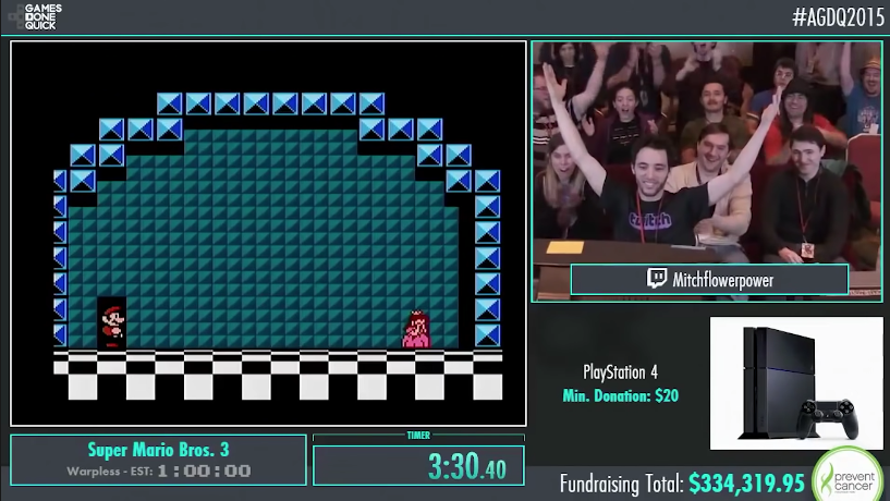 A still image of the AGDQ 2015 livestream. The video feed includes a view of Super Mario Bros. 3, player Mitchflowerpower raising his arms in celebration in front of a crowd, a raffle for a PlayStation 4, and a fundraising total of $334,319.95.