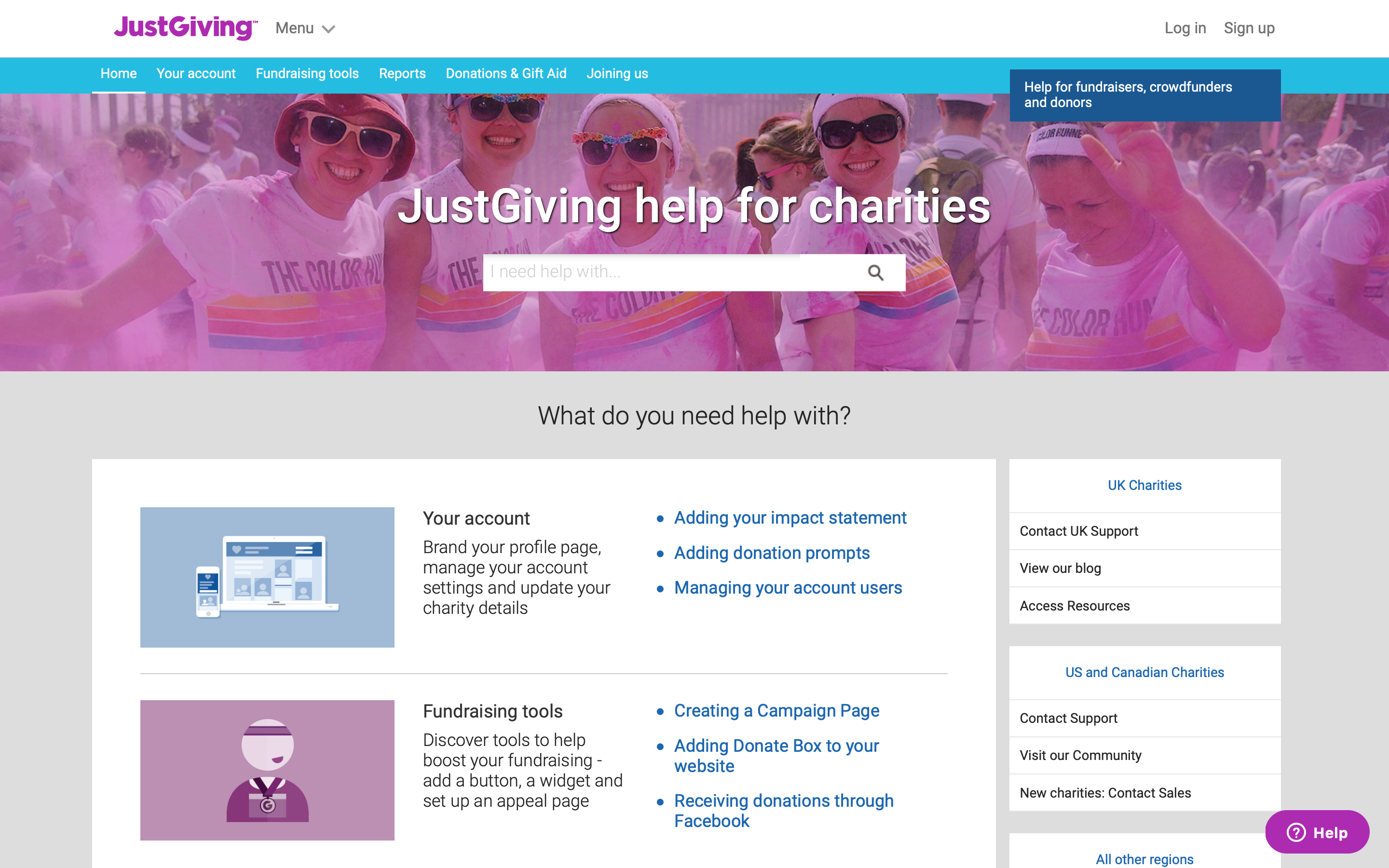 JustGiving help for charities