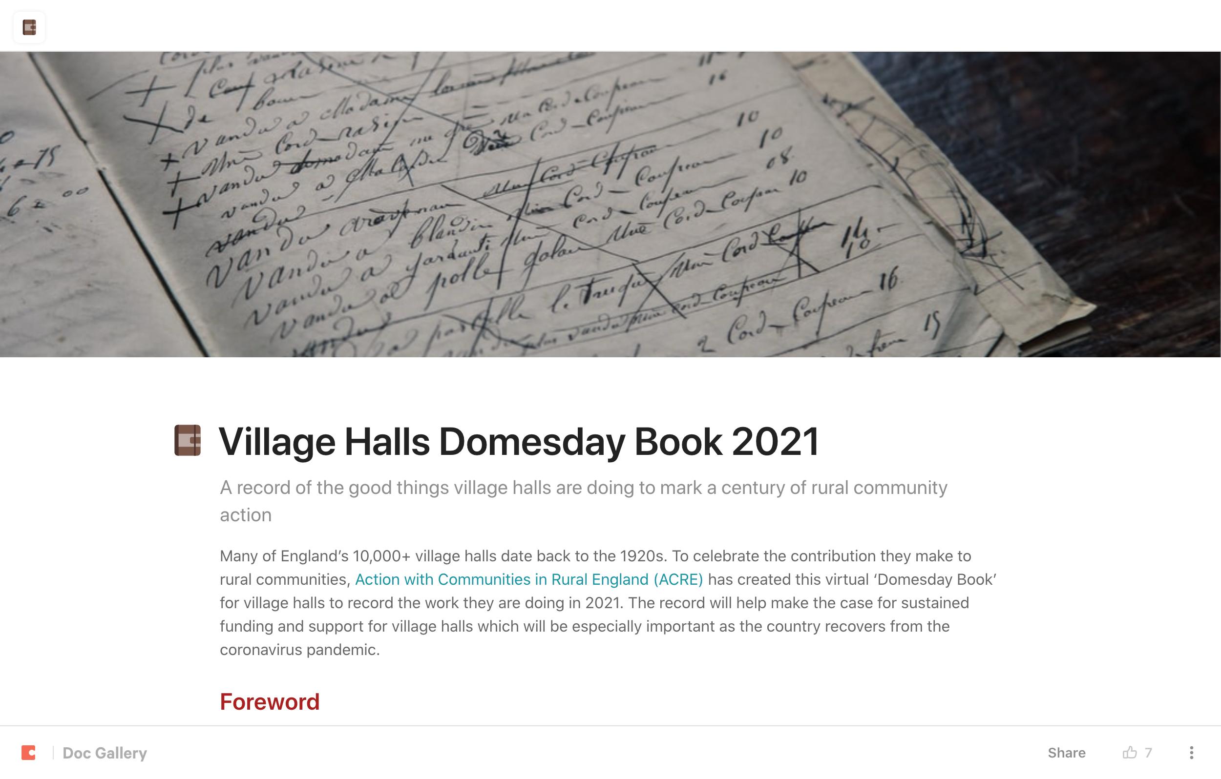 Village Halls Domesday Book 2021