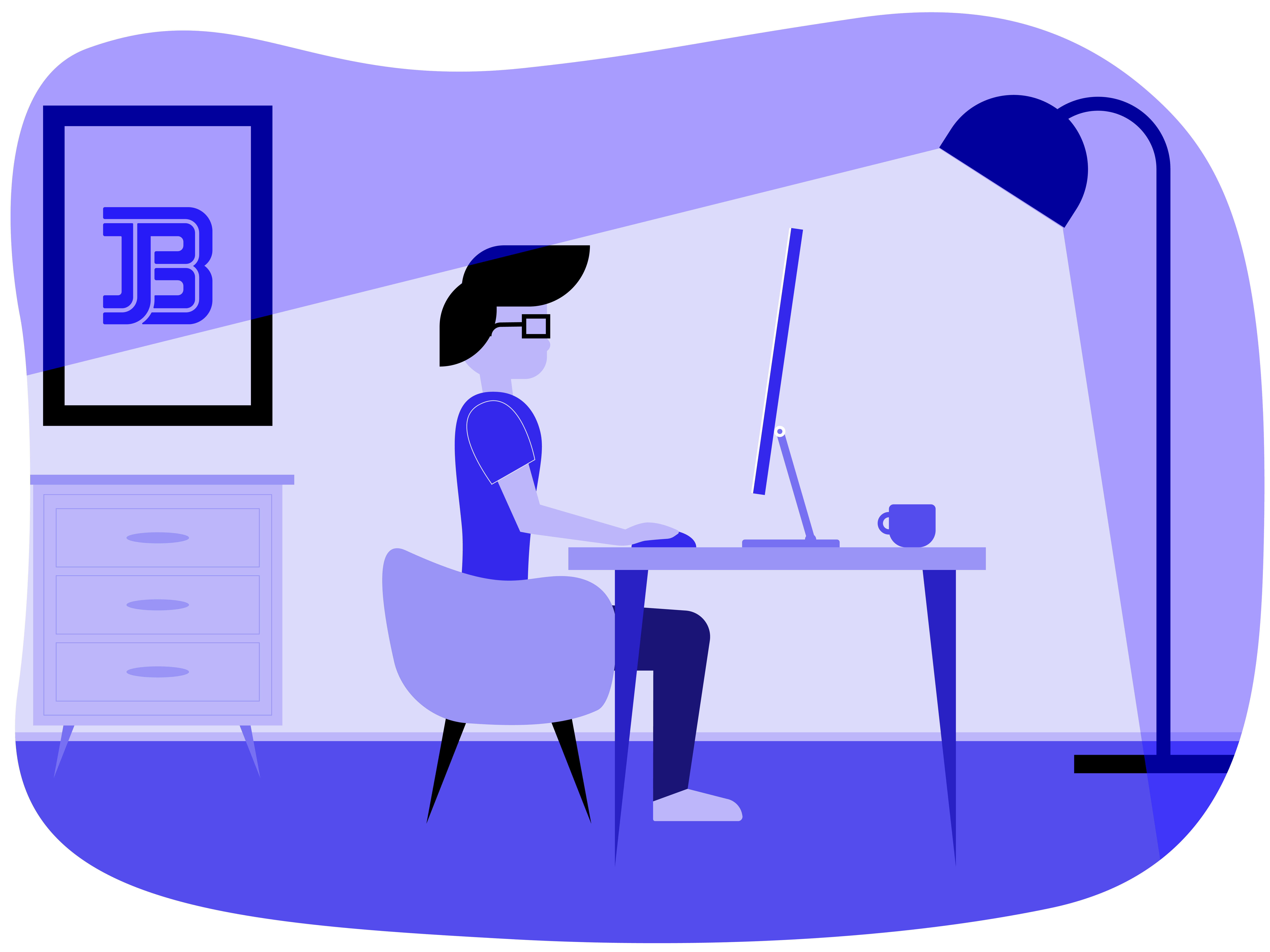 An illustration of a man sitting at a computer.
