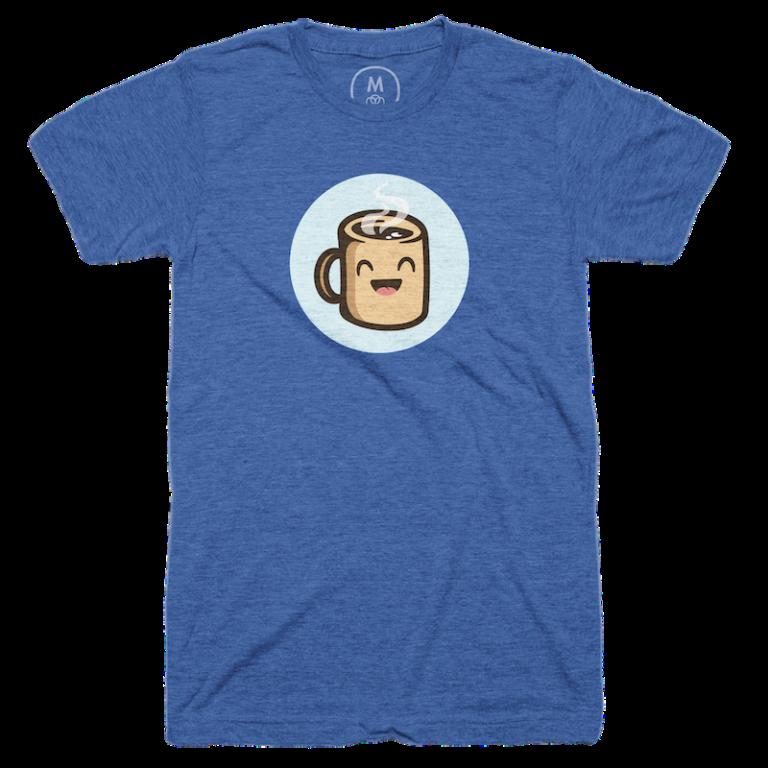 Blue t-shirt with a smiling cartoon coffee mug character.