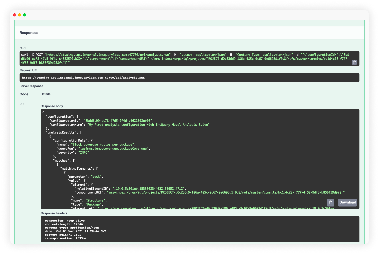 A screenshot from IncQuery Server about flexible OpenAPI integration