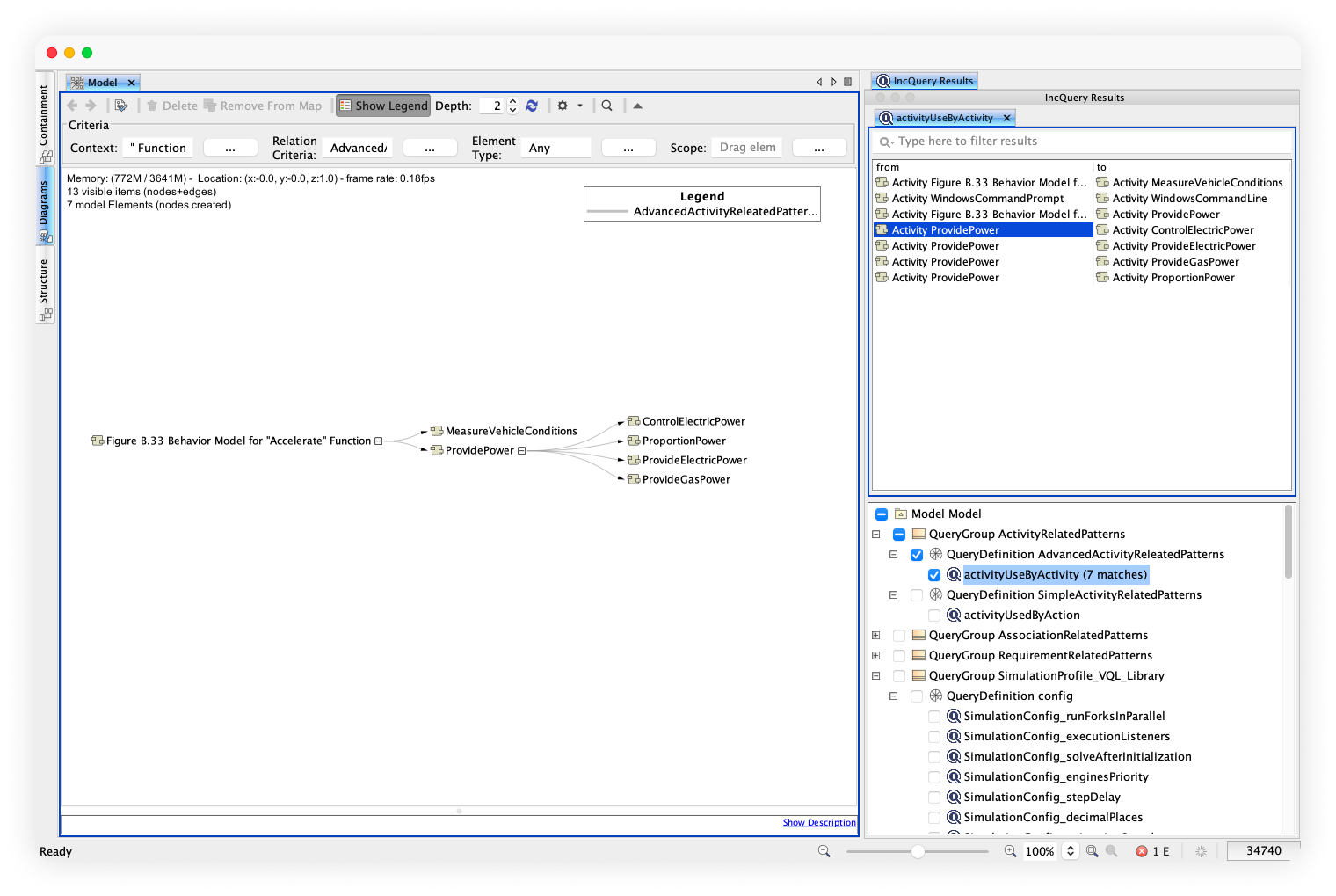 A visualization of fast queries with Desktop in a form of a screenshot from the tool