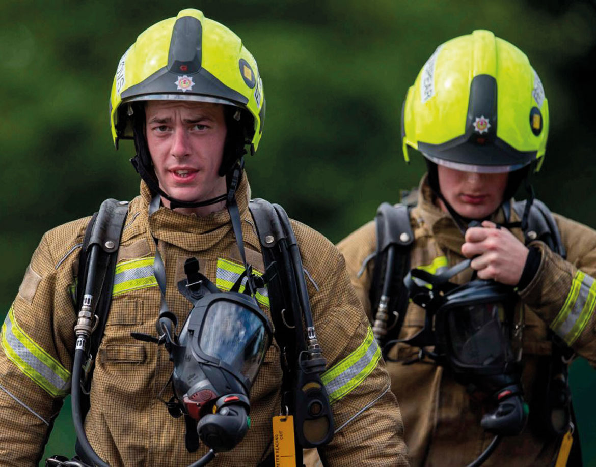 Two fire fighters after an incident