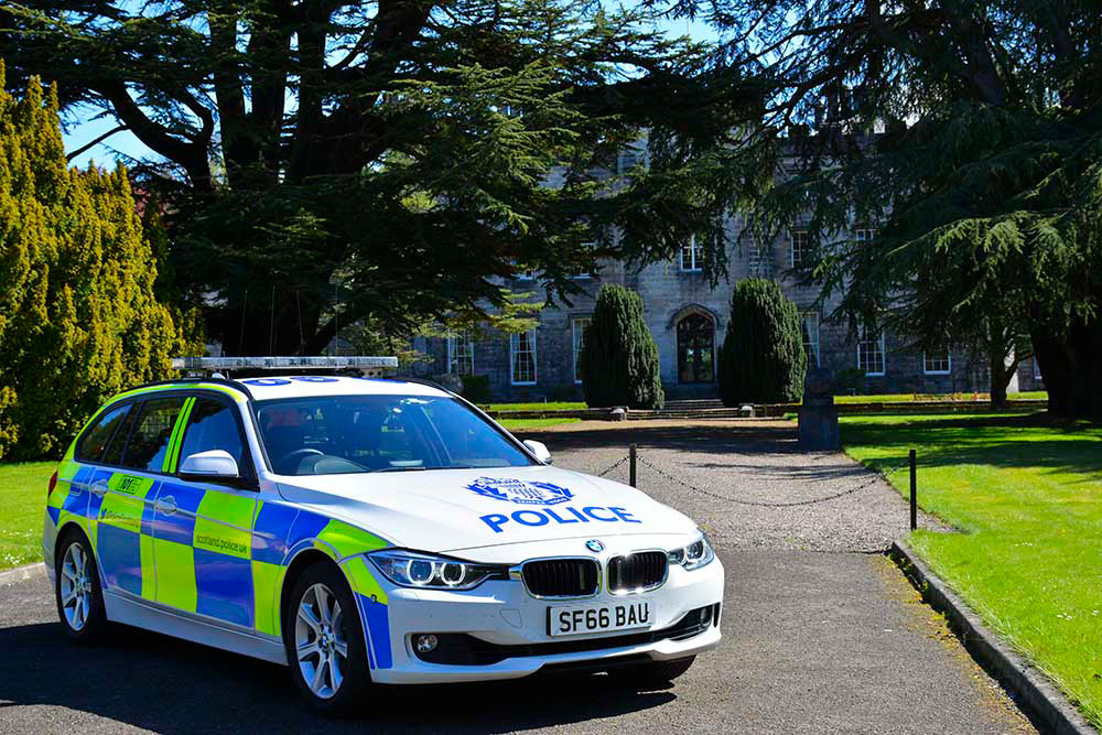 Police car at Tulliallan