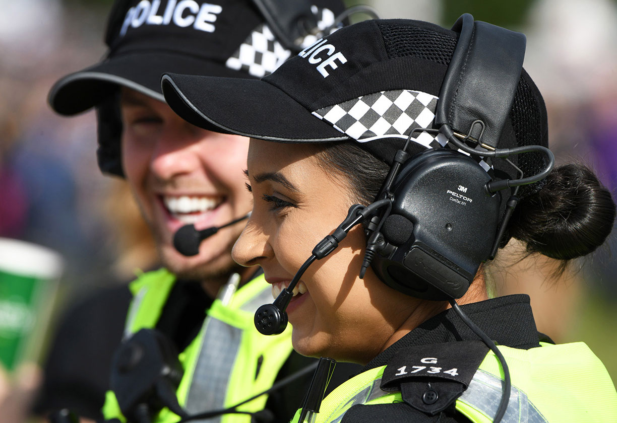 Smiling police woman