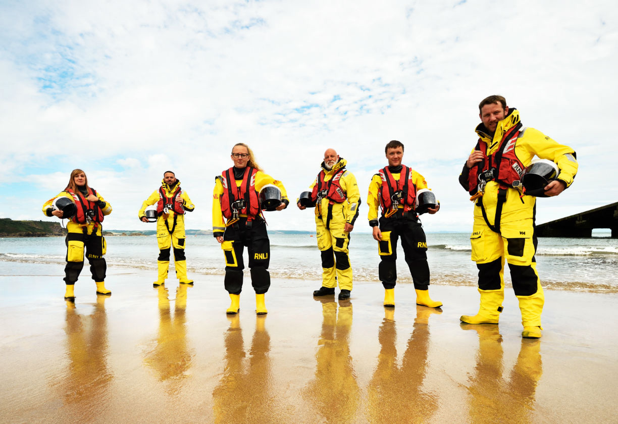 RNLI crew on the beach