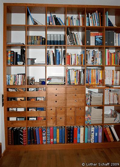 Gefülltes Bücherregal im Wohnzimmer