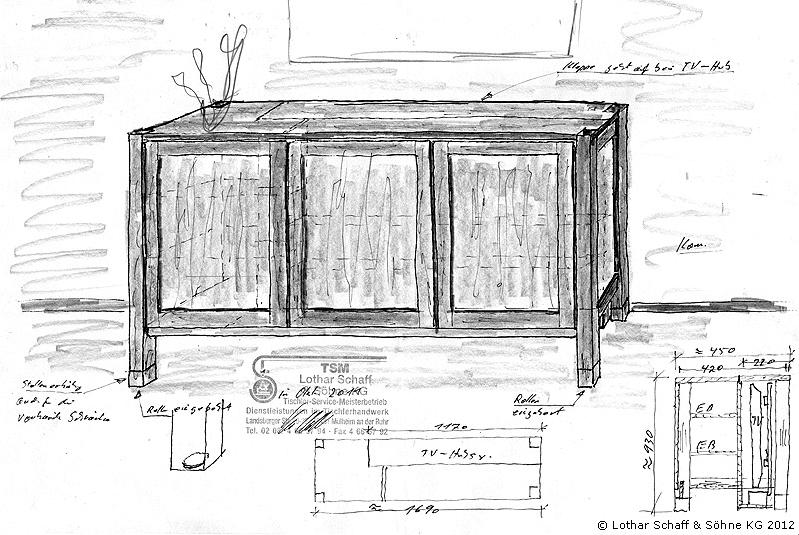 Dreidimensionale Skizze der Kommode im Wohnzimmer