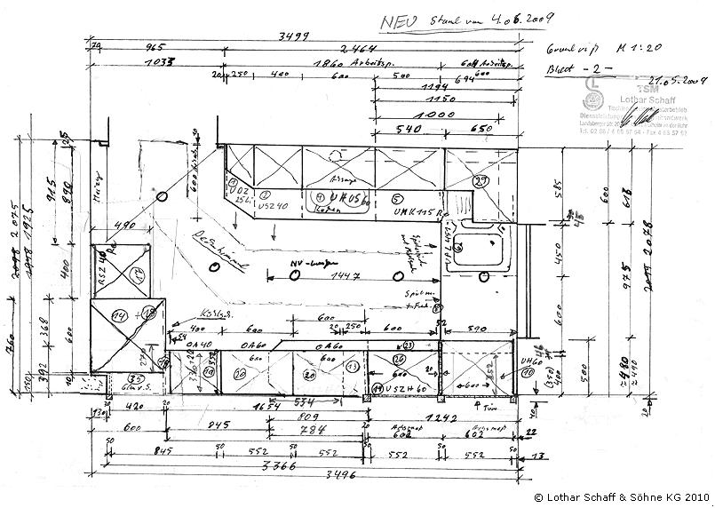 Draufsicht der Skizze der neuen Küche