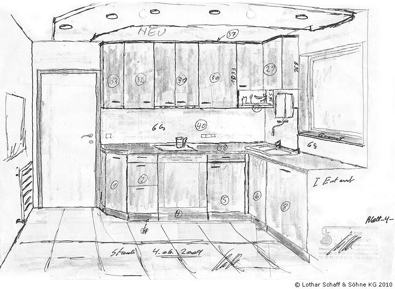 Dreidimensionale Skizze der neuen Küche