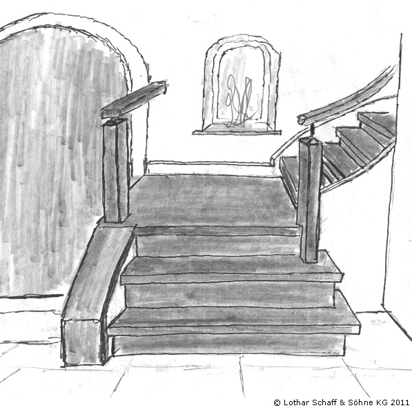 Skizze einer schwarzen Treppe