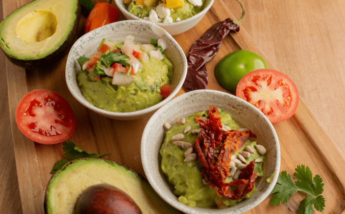 Guacamole with avocados and tomatoes