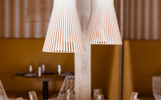 Lamps over dining table