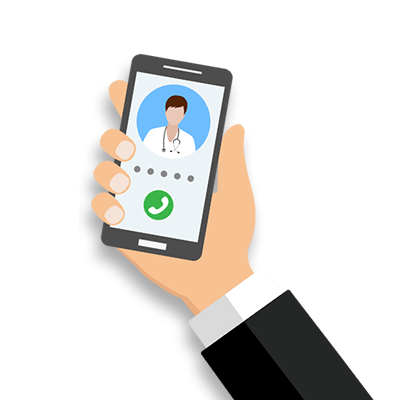 Hand holding a phone with Telehealth doctor on screen.