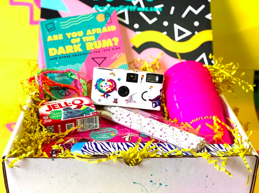 Resting Gift Face's Quarantine Care Package, includes games, jello, disposable camera