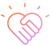 Loveheart icon in pink and orange outlined colour
