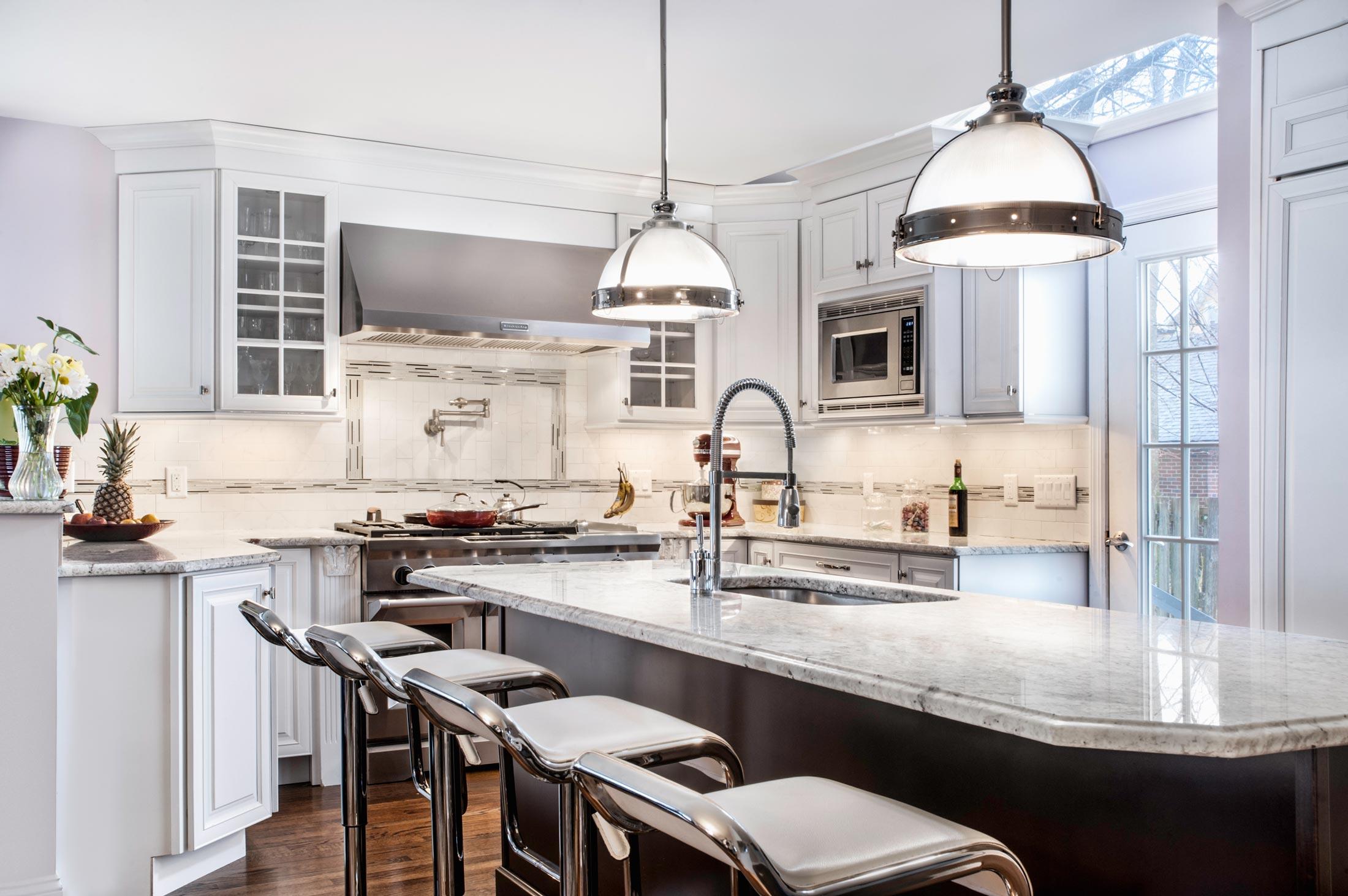 Beautiful kitchen with lighting fixtures