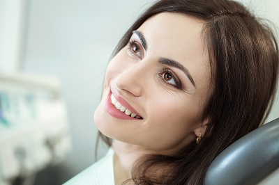 a woman in the dental chair