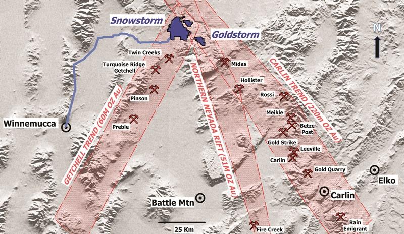Snowstorm location map