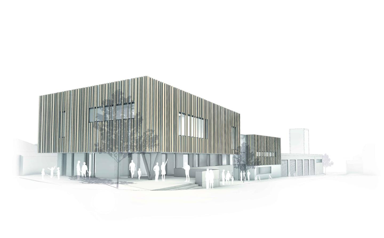 Farbige Skizze eines modernen Mehrzweckgebäudes.