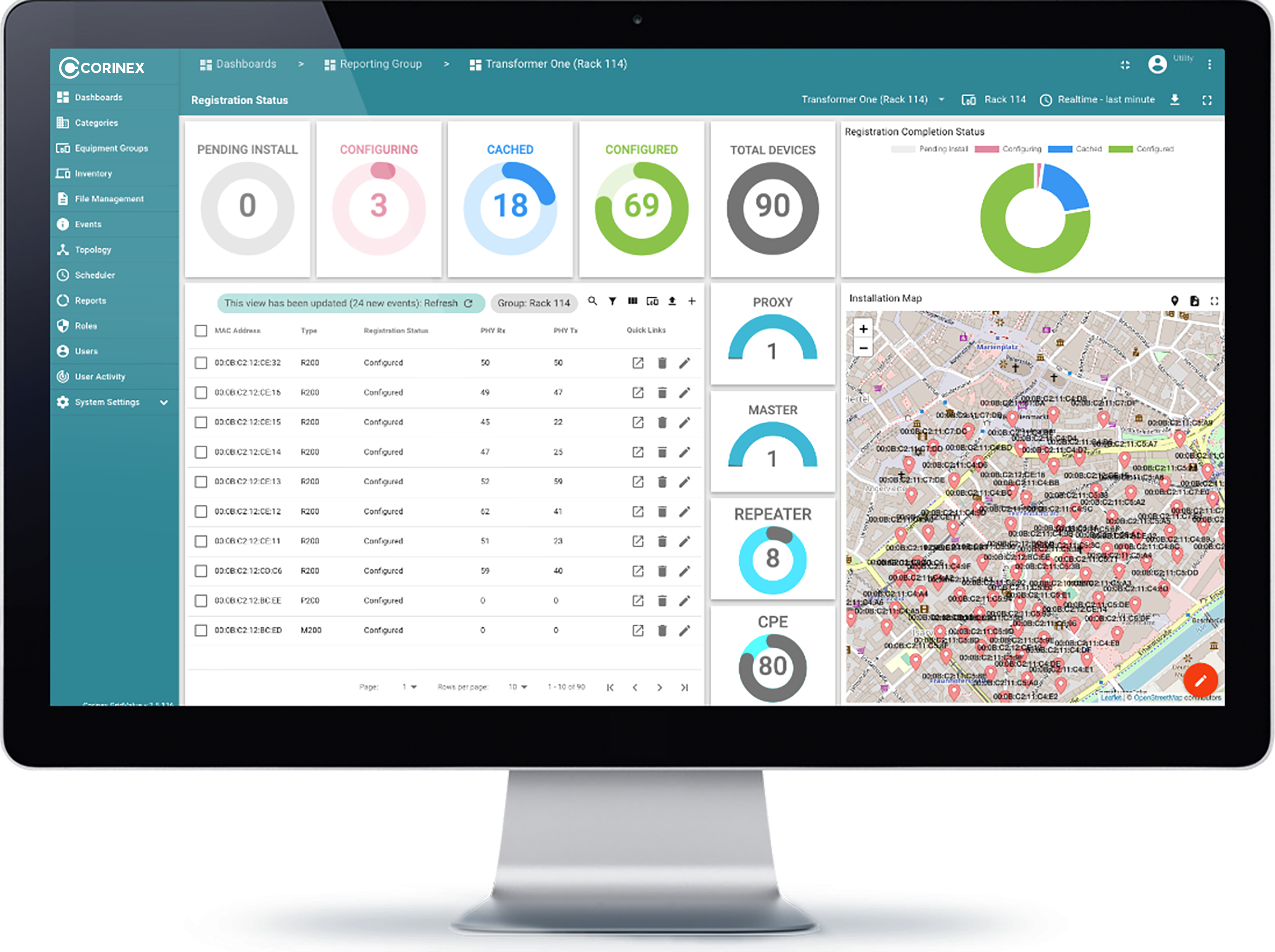 A desktop image of Corinex GridValue Software with analytics