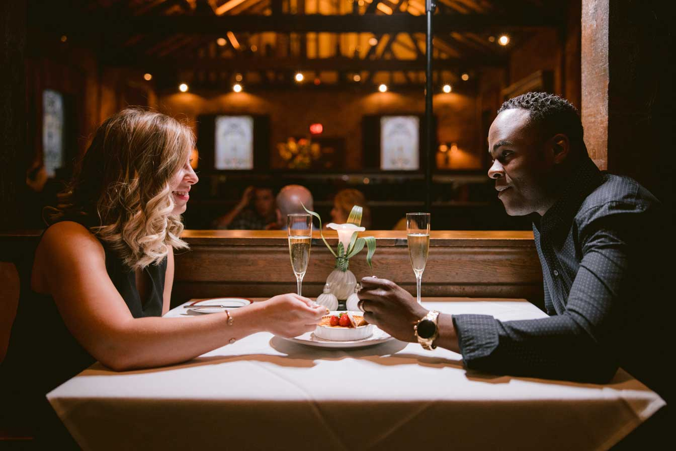 couple enjoying an intimate meal at refectory restaurant columbus ohio